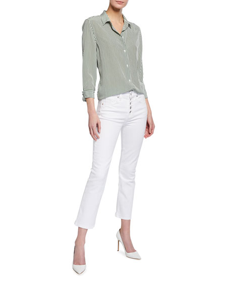 Image 3 of 3: Veronica Beard Jeans Carolyn Button-Front Cropped Flare Jeans