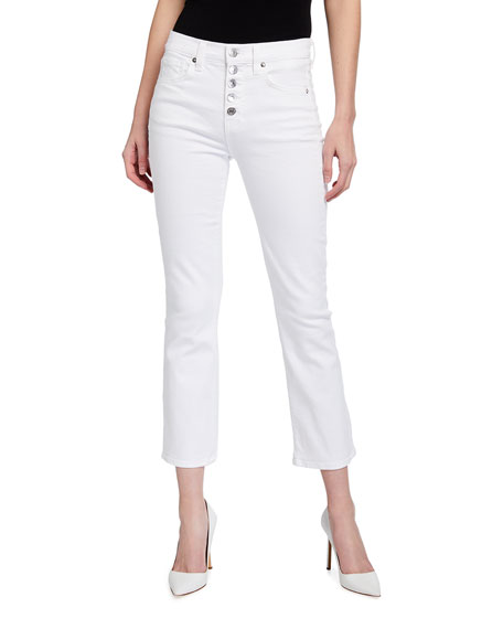 Image 1 of 3: Veronica Beard Jeans Carolyn Button-Front Cropped Flare Jeans