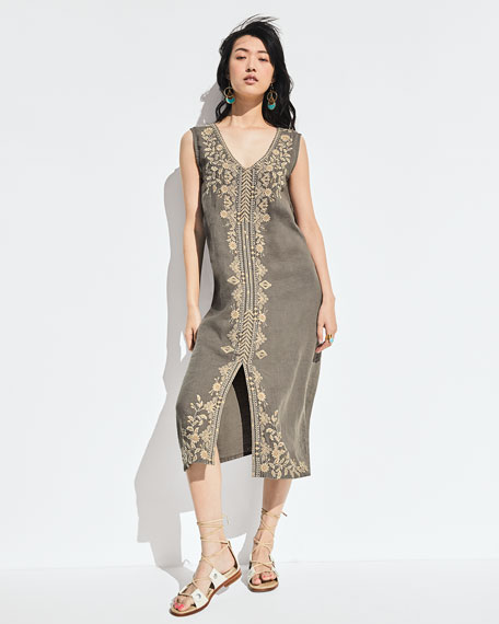 Johnny Was Kemi Embroidered Linen Tank Dress