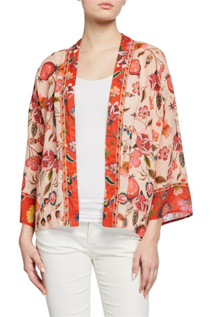 Johnny Was Plus Size Short Floral-Printed Linen Kimono