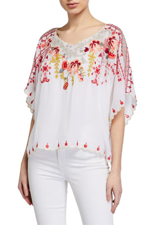 Johnny Was Nicky Multi Embroidered Elbow-Sleeve Top