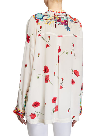 Image 2 of 2: Johnny Was Bracciana Embroidered Silk Blouse