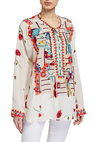 Johnny Was Bracciana Embroidered Silk Blouse