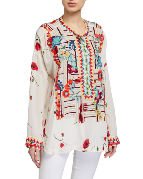Image 1 of 2: Johnny Was Bracciana Embroidered Silk Blouse