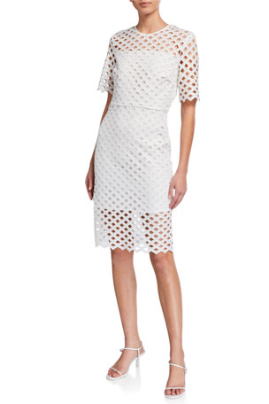 Milly Angela Lattice Embroidered Dress
