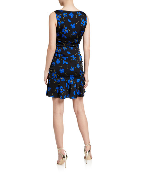 Milly Pam Butterfly Floral Sleeveless Stretch Silk Dress