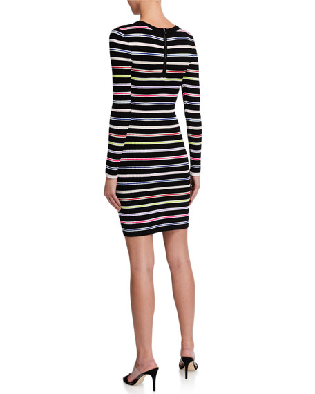 Milly Multicolor Stripe Long-Sleeve Dress