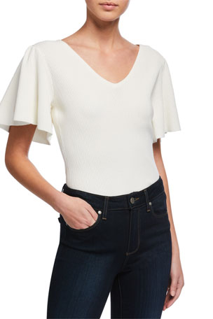 Milly Flutter-Sleeve V-Neck Top