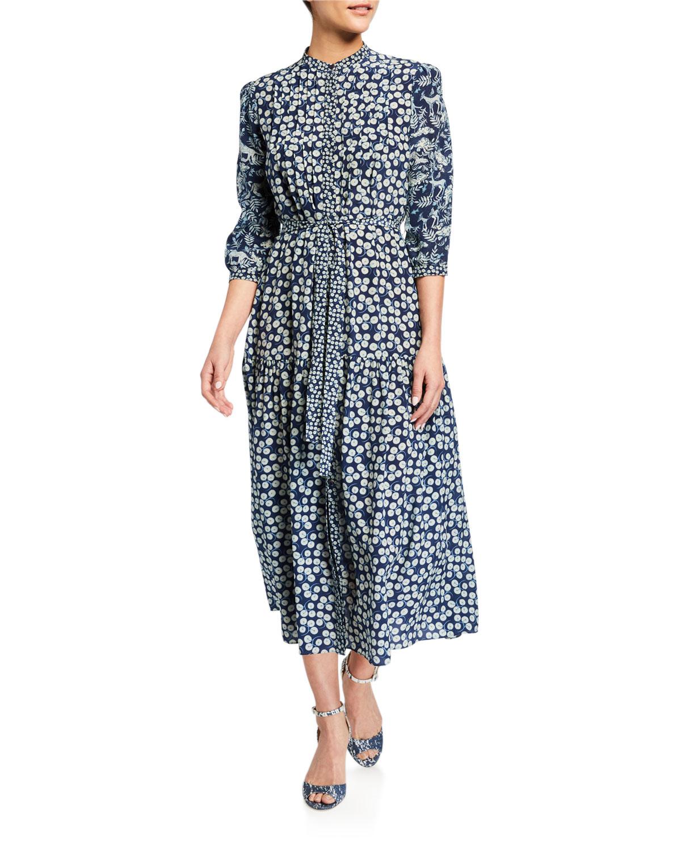 Saloni Remi C 3/4-Sleeve Midi Dress