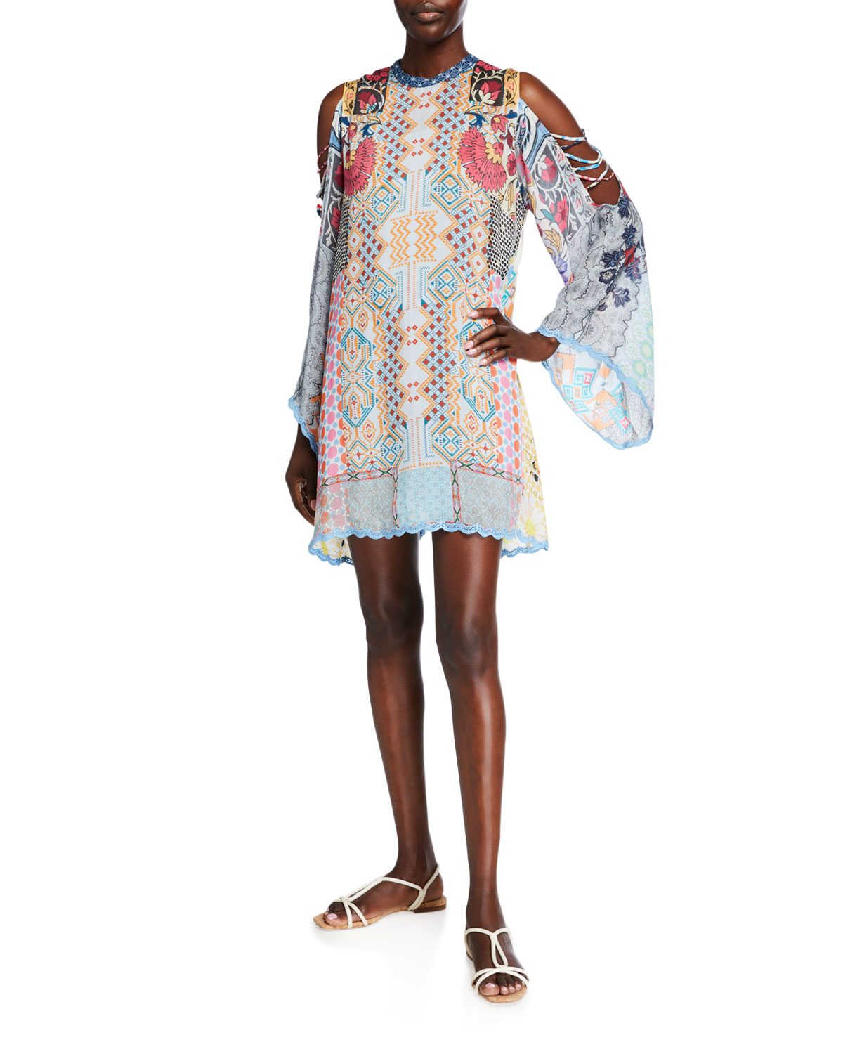 Johnny Was Plus Size Cahil Open-Shoulder Printed Silk Tunic Dress w/ Slip