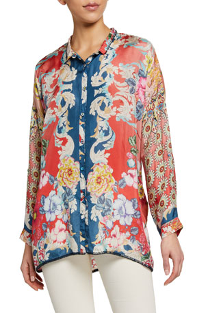 Johnny Was Dusk Printed Silk Long-Sleeve Button-Front Blouse