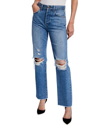 Amazing High-Rise Boyfriend Jeans with Knee Rip