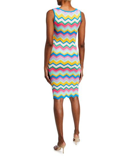 Image 2 of 2: Milly Chevron Stripe Fitted Dress