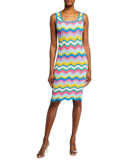 Image 1 of 2: Milly Chevron Stripe Fitted Dress