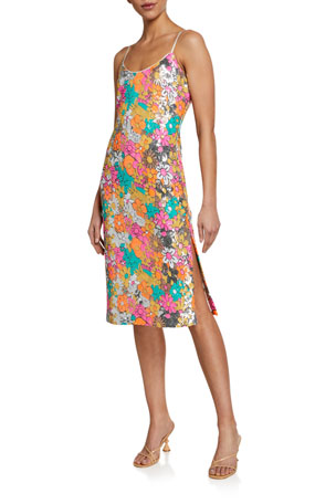 Milly Annie Sequined Floral Spaghetti-Strap Dress