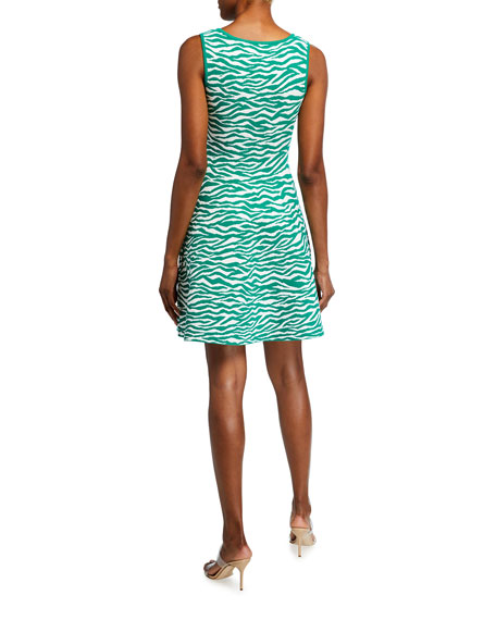 Milly Abstract Zebra Sleeveless Fit-&-Flare Dress
