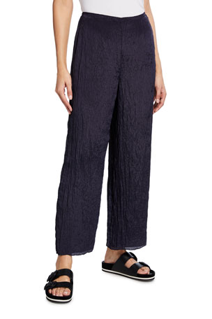 Vince Textured Wide-Leg Pull-On Ankle Pants