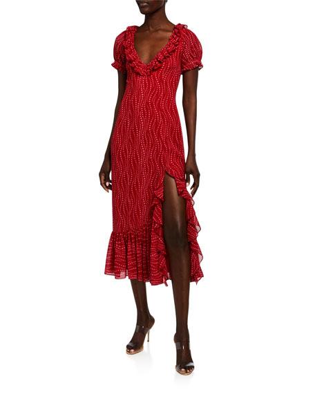 cinq a sept Michelle Printed Ruffle Midi Dress