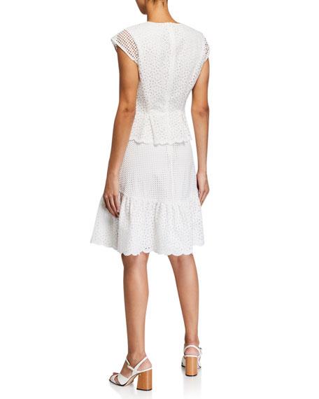 Diane von Furstenberg Annika Tiered Eyelet Mesh Short-Sleeve Dress