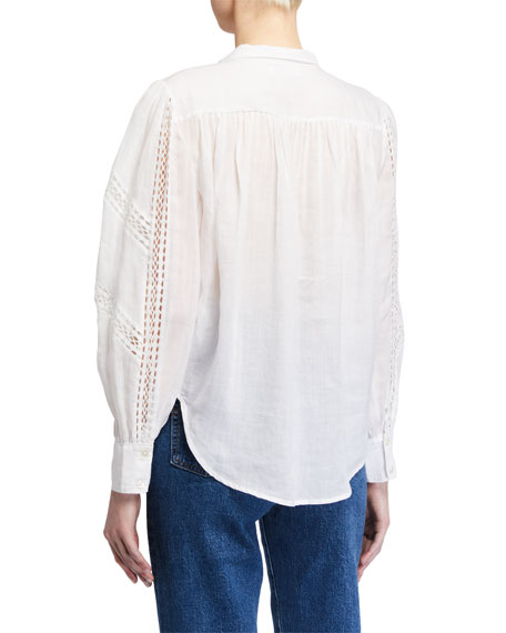 FRAME Paneled Lace Button-Up Top