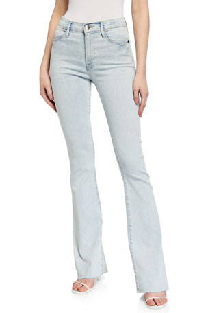 FRAME Le High Flare Raw-Edge Jeans