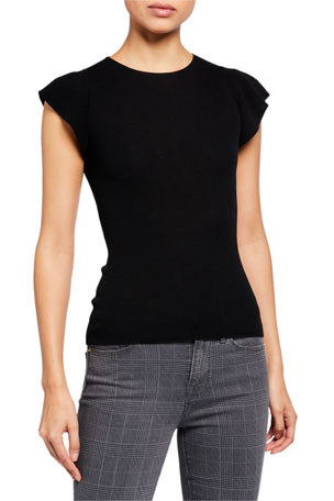 FRAME True Feminine Short-Sleeve Sweater