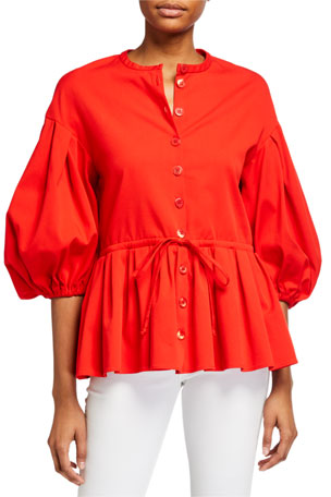 Stine Goya Ferrah Button-Front Blouson-Sleeve Top