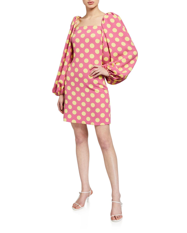 Stine Goya Will Blouson-Sleeve Polka Dot Short Dress