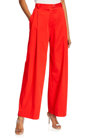 Stine Goya Chet Pleated Straight-Leg Pants