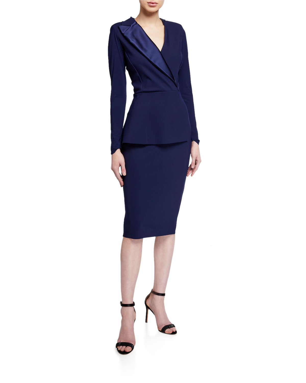 Chiara Boni La Petite Robe Satin Lapel Long-Sleeve Peplum Dress