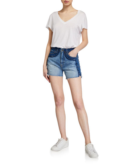 Image 3 of 3: Hudson Double Jean Cutoff Shorts