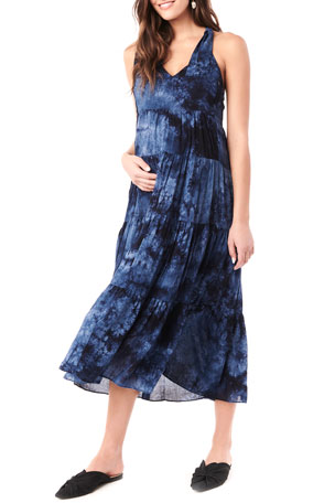 Loyal Hana Maternity Rio Tie Dyed Tiered Racerback Dress