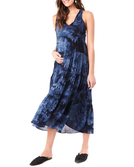 Loyal Hana Maternity Rio Tie Dyed Tiered Racerback Dress