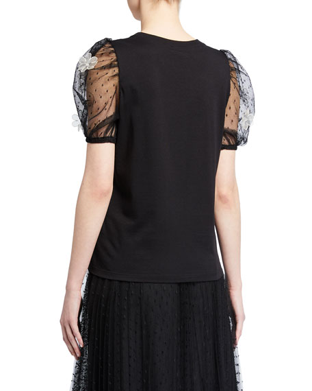 Image 2 of 2: REDValentino T-Shirt with Short Puff-Sleeves