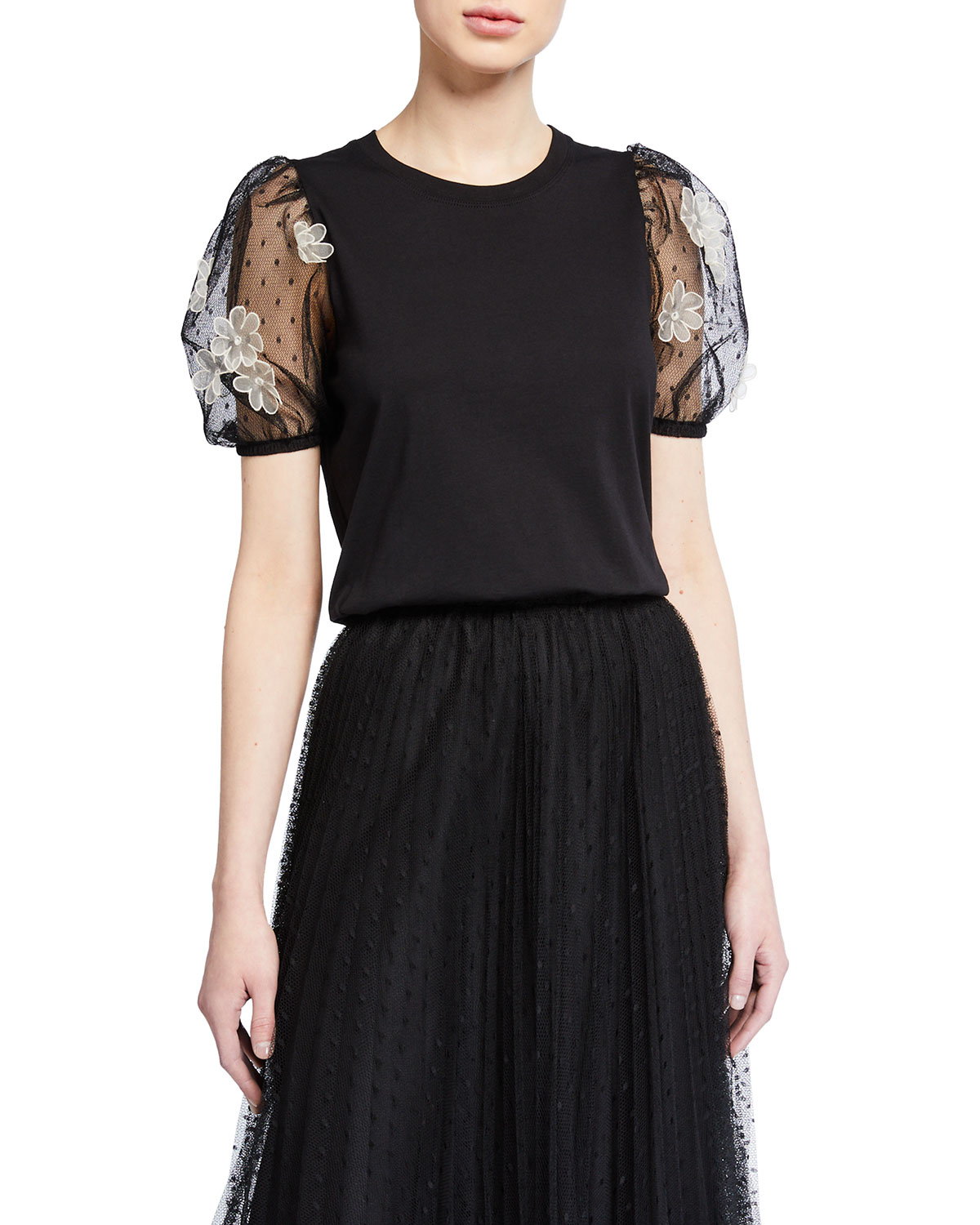 REDValentino T-Shirt with Short Puff-Sleeves