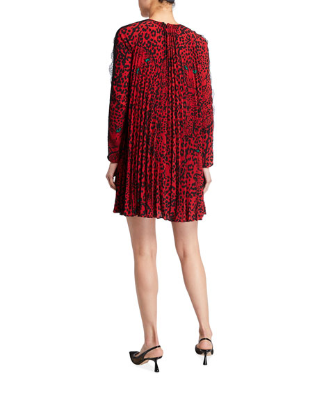Image 2 of 2: REDValentino Pleated Panther Shift Dress