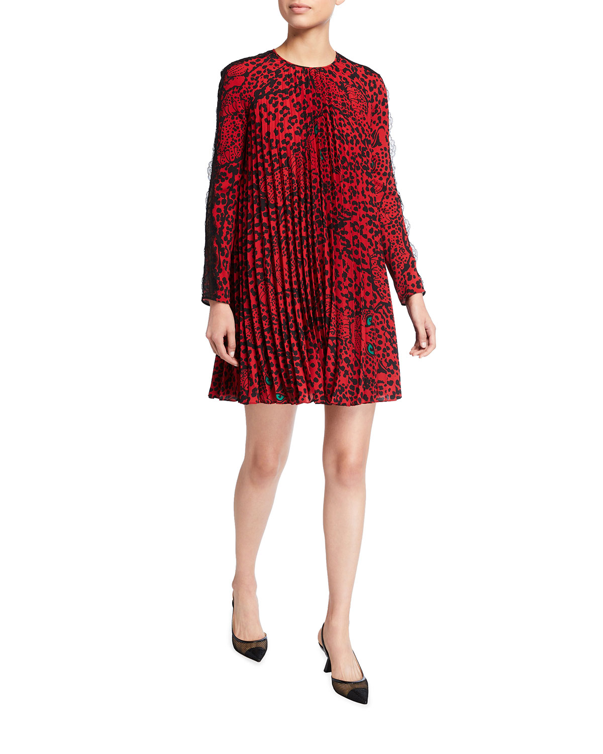 REDValentino Pleated Panther Shift Dress