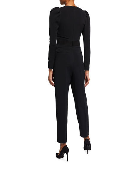 Image 2 of 2: REDValentino V-Neck Long-Sleeve Crepe Jumpsuit