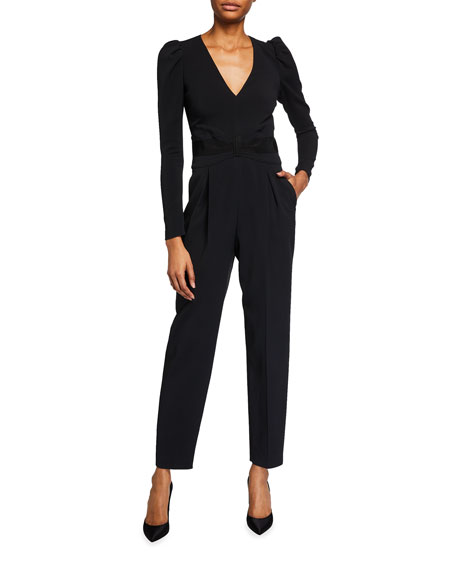 Image 1 of 2: REDValentino V-Neck Long-Sleeve Crepe Jumpsuit