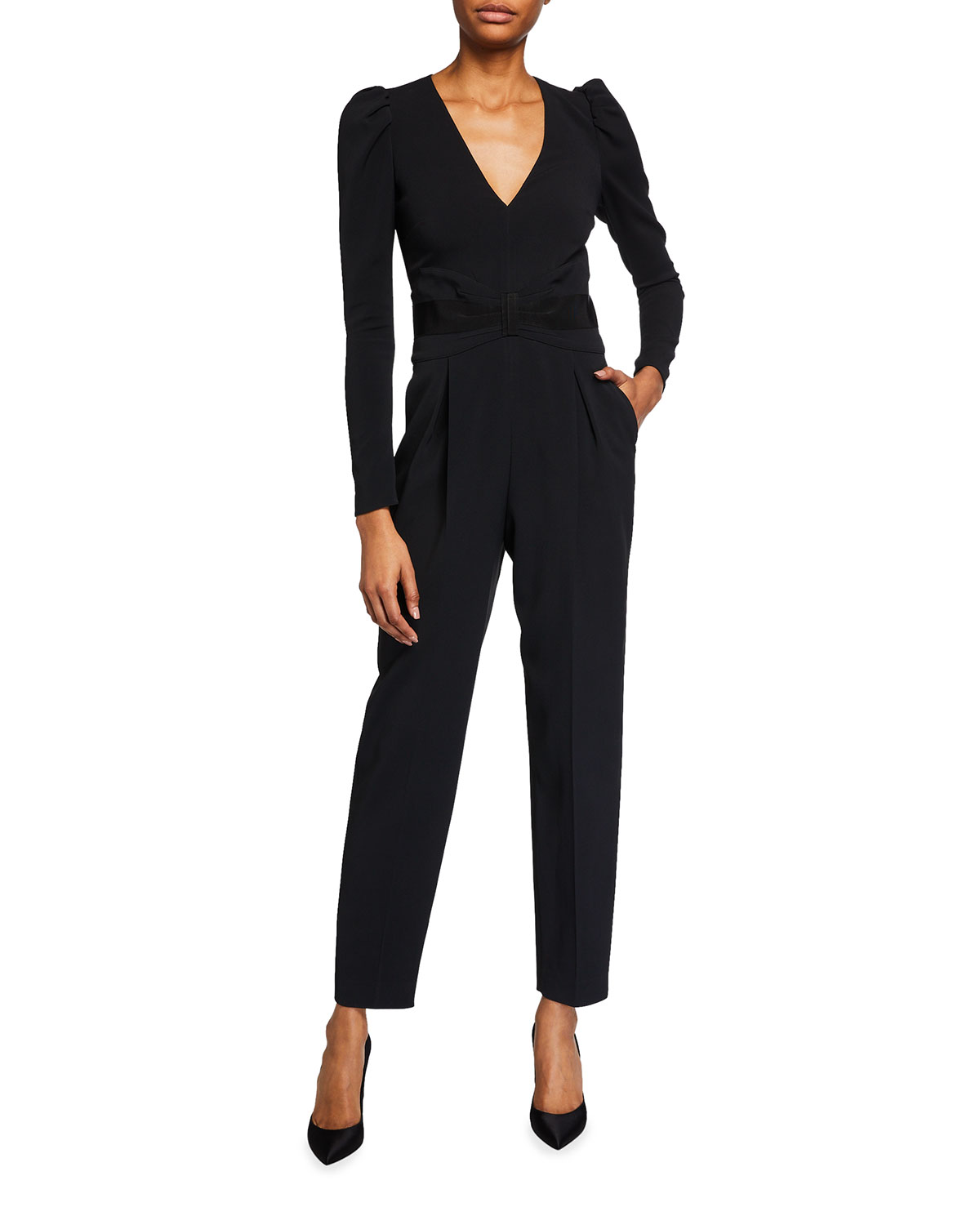 REDValentino V-Neck Long-Sleeve Crepe Jumpsuit