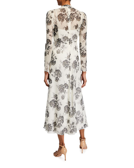 Image 2 of 2: REDValentino Graphic Hydrangea Long Dress