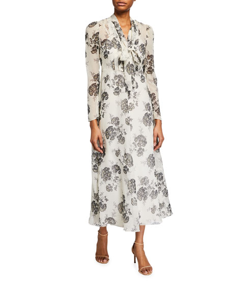 Image 1 of 2: REDValentino Graphic Hydrangea Long Dress