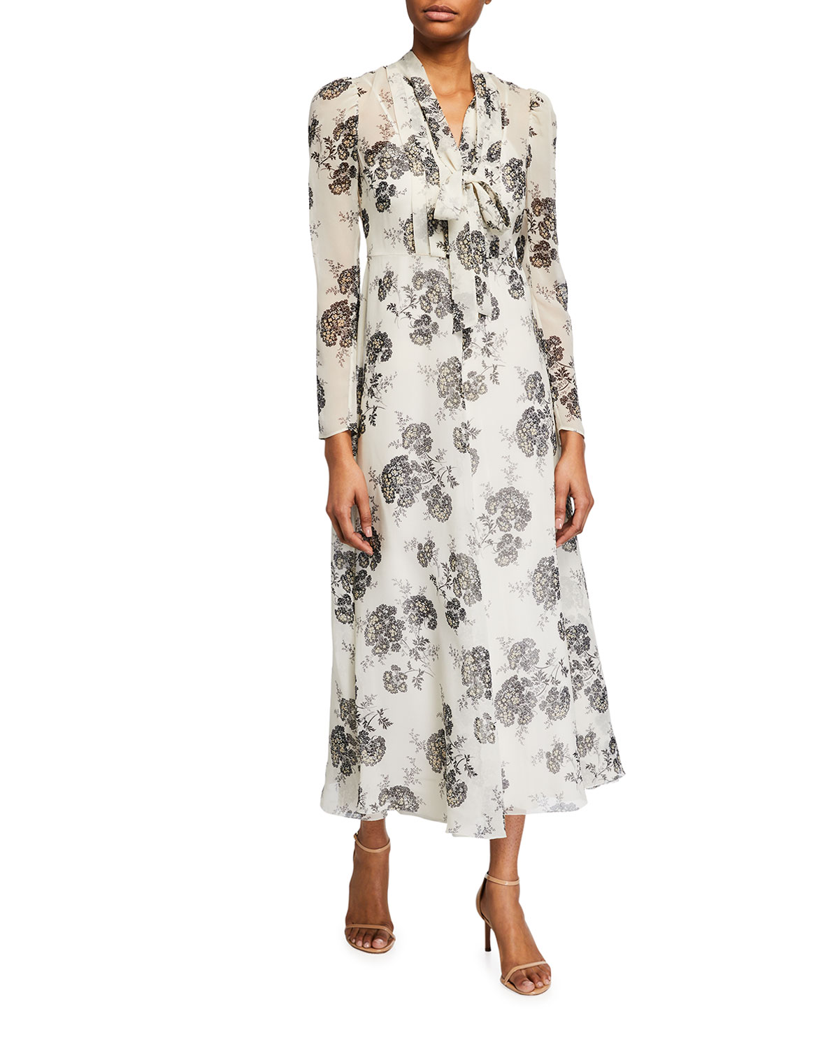 REDValentino Graphic Hydrangea Long Dress