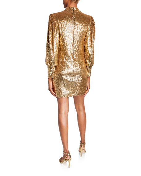 Image 2 of 2: A.L.C. Christy Sequin Mock-Neck Blouson-Sleeve Mini Dress