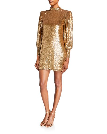 Image 1 of 2: A.L.C. Christy Sequin Mock-Neck Blouson-Sleeve Mini Dress