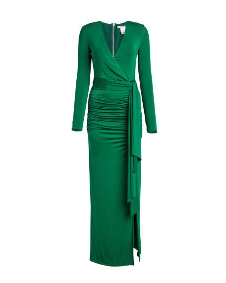 Alice + Olivia Kyra Deep V Drapey Dress