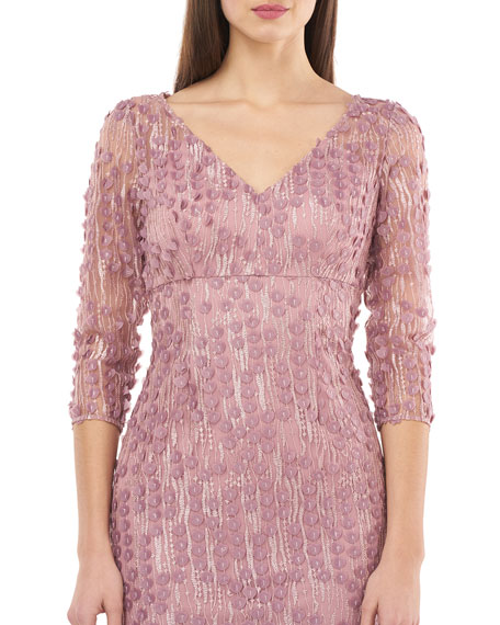 Carmen Marc Valvo Infusion V-Neck 3/4-Sleeve Small 3D Petal Embellished Gown