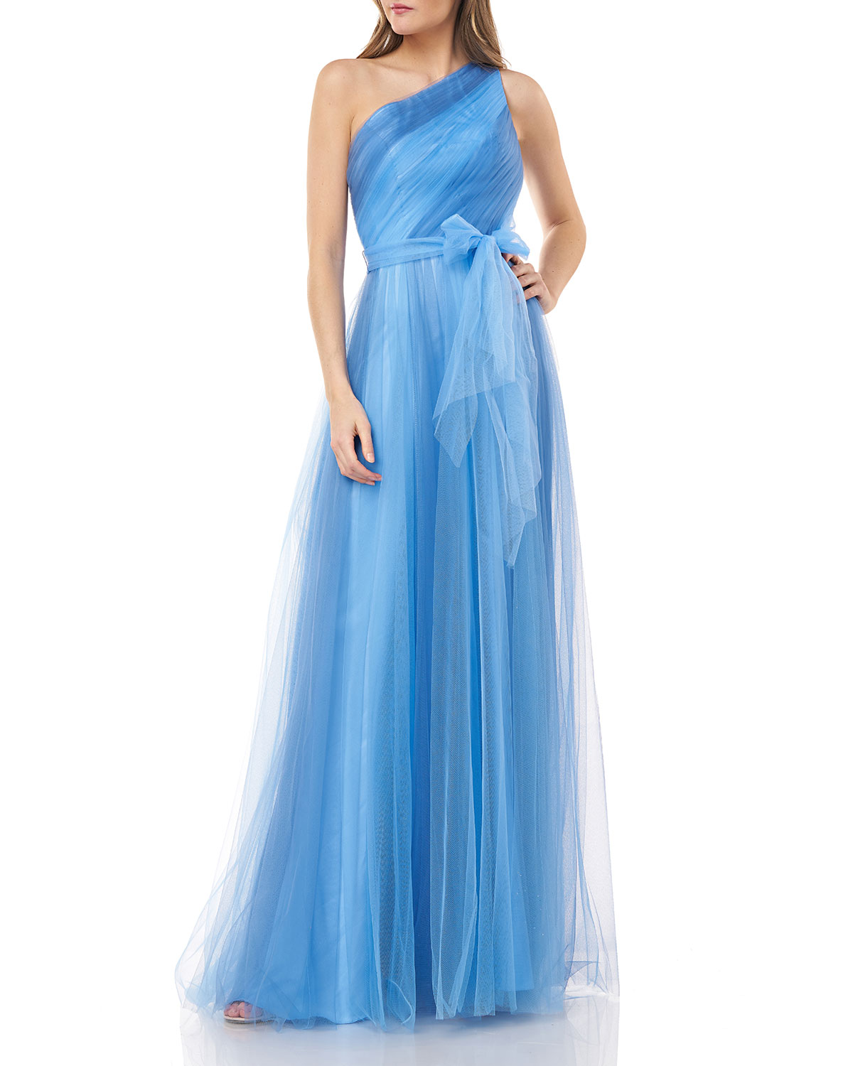 Carmen Marc Valvo Infusion One-Shoulder Two-Tone Tulle Gown