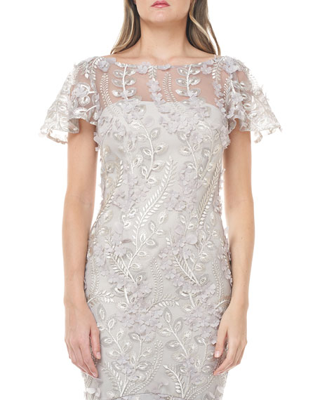Carmen Marc Valvo Infusion 3D Petal Embellished Flutter-Sleeve Mermaid Illusion Gown