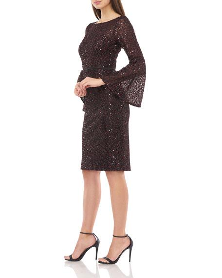 Carmen Marc Valvo Infusion Sequin Crepe Trumpet-Sleeve Sheath Dress